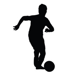 Young soccer player silhouette, kid plays soccer or football. Fr
