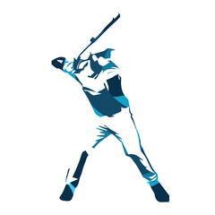 Abstract blue baseball player, vector isolated illustration. Bas