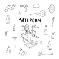 Bathroom. Cosmetics objects. Doodles. Isolated. Vector