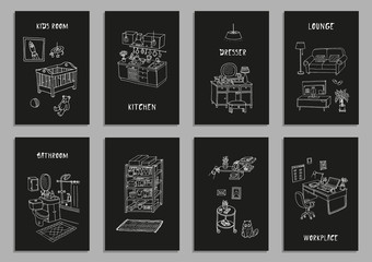 Set of eight creative cards with different interior hand drawn sketch, vector illustration. Geometric shapes. Isolated