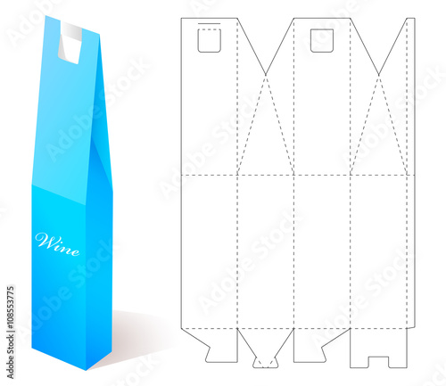 Wine paper box with blueprint template stock image and royalty free wine paper box with blueprint template malvernweather Choice Image