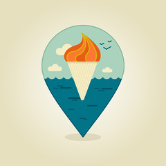 Ice Cream pin map icon. Summer, Beach, Sun, Sea
