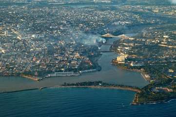 Santo Domingo und Mündung des Rio Ozama, Dominikanische Republik