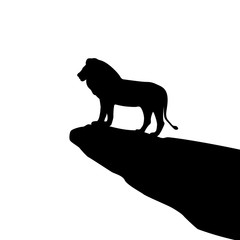 Isolated lion silhouette on the rock