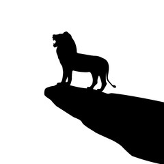 Vector illustration of isolated lion silhouette