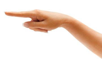 Woman's hand points a finger at something isolated on white background. High resolution product. Close up
