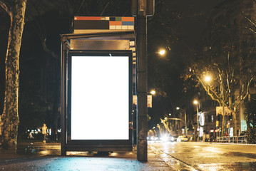 Mock up of advertising light box on the bus stop Fotomurales