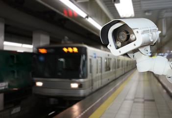 CCTV Camera security operating on subway station platform.underg