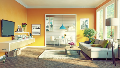 modern living room. 3d concept