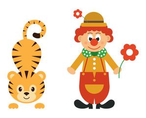 cartoon tiger and clown