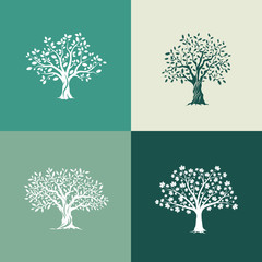 Beautiful oak, olive and maple trees silhouette set on green background. Modern isolated vector sign. 