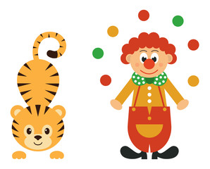 cartoon tiger and clown with balls