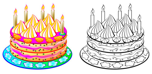 Colorful and black and white pattern cake, vector cartoon image.