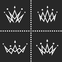 Set crowns logo monogram silhouette, thin line graphic geometric shape decoration, collection princess tiara icon