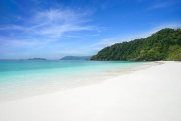blue sea and white sand beach