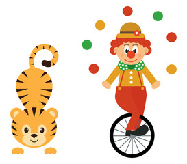 cartoon tiger and clown and bike