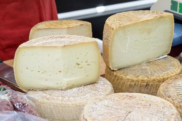 Pecorino cheese of Sardinia / Pecorino cheese typical processing of Sardinia exposed for sale.