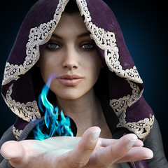 Female sorcerer with blue magic coming from her hand on a gradient black background. 3d rendering
