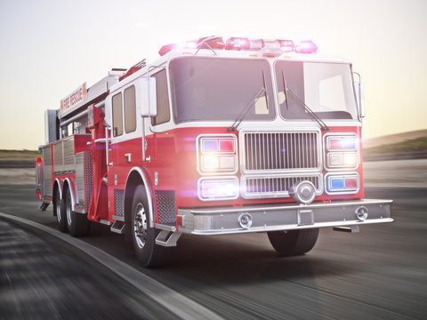 Generic firetruck illustration angled view ,responding to a call, part of a first responder series