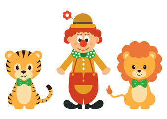 tiger and clown and lion