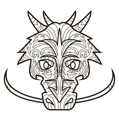 Line vector image for art therapy with dragon