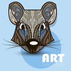 Modern art therapy poster with multicolor totem rat vector image