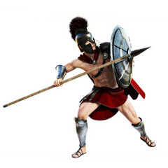 Spartan in action.Full length illustration of a Spartan warrior in Battle dress on defensive on a white background. Photo realistic 3d model scene.