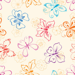 decorative butterflies and flowers.