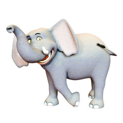 3d rendered illustration of Elephant smiling ,funny cartoon character isolated on a white background.
