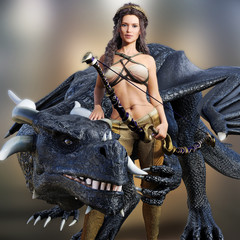 Hunter queen and her dragon. Beautiful warrior female posing with her mystic dragon and bow on a blurred background. Photo realistic 3d model scene.