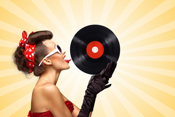 Tastes like music / Vintage photo of glamorous pinup girl, red ribbon in her hair and sunglasses, touching retro vinyl with her tongue on colorful abstract cartoon style background.