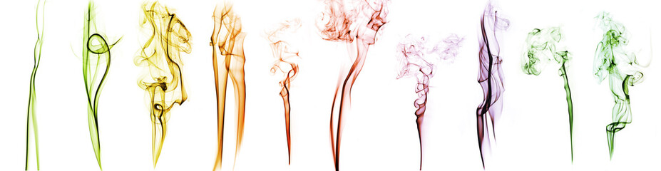 collection of patterns of colored abstract smoke isolated on white Fototapete