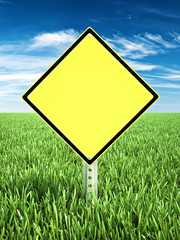 Yellow caution themed sign placed in a field of grass with room for text or copy space. Photo realistic 3d rendering