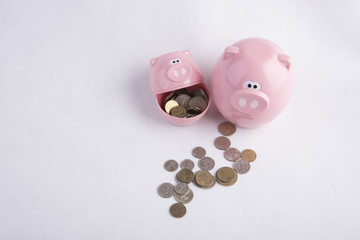 Two money boxes pink pigs and coins