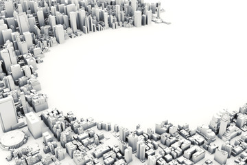 Architectural 3D model illustration of a large city on a white background with a cut out circle with room for text or copy space.