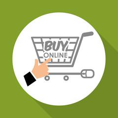 Buy online over white background, shopping cart design