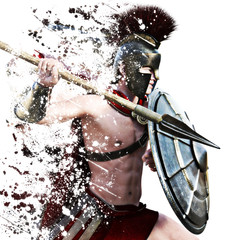 Spartan attack,a Spartan warrior in Battle dress attacking on a white background with splatter effect. Photo realistic 3d model re