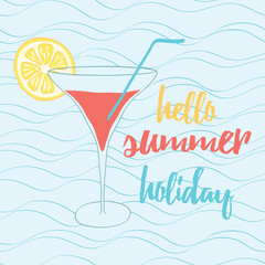 Hand painted banner of glass with the inscription typographic quote. Hello summer holiday.