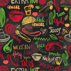 Vector seamless pattern mexican food with lettering. Mexican food tacos, burritos, nachos. Mexican kitchen. Can be used for restaurant, cafe. Mexican food menu.