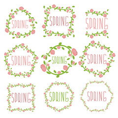 Set of spring labels with flowers and leaves. Vector illustratio