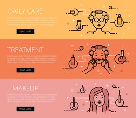 Daily Care. Treatment. Makeup. Line vector web banners set