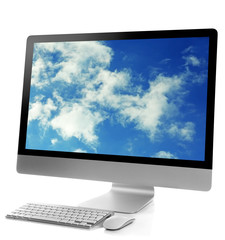 Modern computer isolated on white.Cloud storage concept