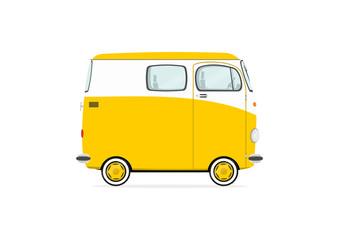 Funny cartoon van na białym tle. Flat vector.