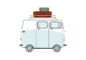 Funny cartoon van on a white background. Flat vector.