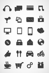 Modern icon set, black and white icon set vector