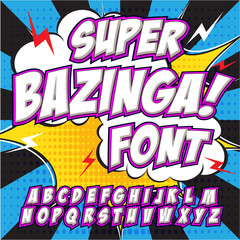 Creative high detail comic font. Alphabet in the style of comics, pop art.