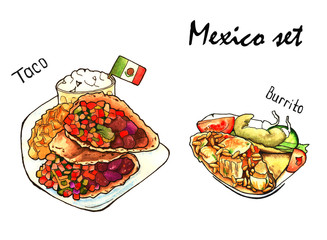 a set of sketches of Mexican food. isolated. watercolor