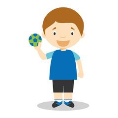 Sports cartoon vector illustrations: Handball