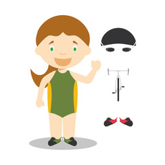 Sports cartoon vector illustrations: Triathlon (female)