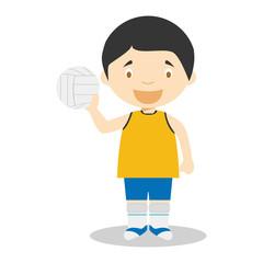 Sports cartoon vector illustrations: Voleyball